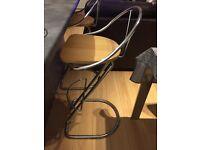 2x bar/ breakfast bar stools, Italian chrome with beach wood seats