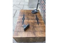 Rustic industrial Coffee table storage trunk/double opening/casters/ handcrafted/reclaimed wood.