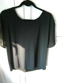 Ladies Black Top from Next with Bow Tie on back