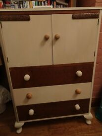 Varnished and Cream Painted Storage Unit (Upcycled)