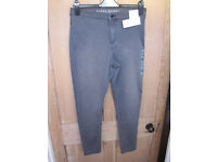 New Marks and Spencer short grey skinny high rise jeans size 14