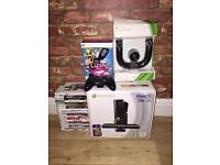 XBOX 360 250GB gloss black with Kinect & more