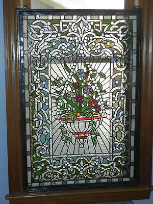 """Tiffany Style Leaded Stained Glass Window Panel Hanging Floral Basket 36"""" x 24"""""""