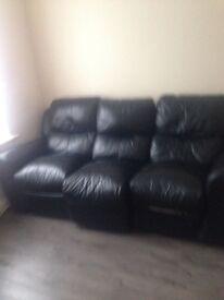 Leather sofa 3 seater black