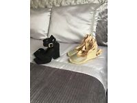 2 pairs shoes size 5 gold wedges from river island black shoes from new look both only worn once