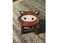 Handmade Children's Wooden Cow Face Stool