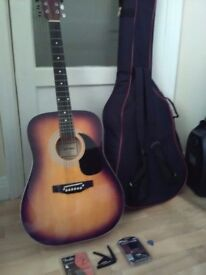 Guitar with case & accessories