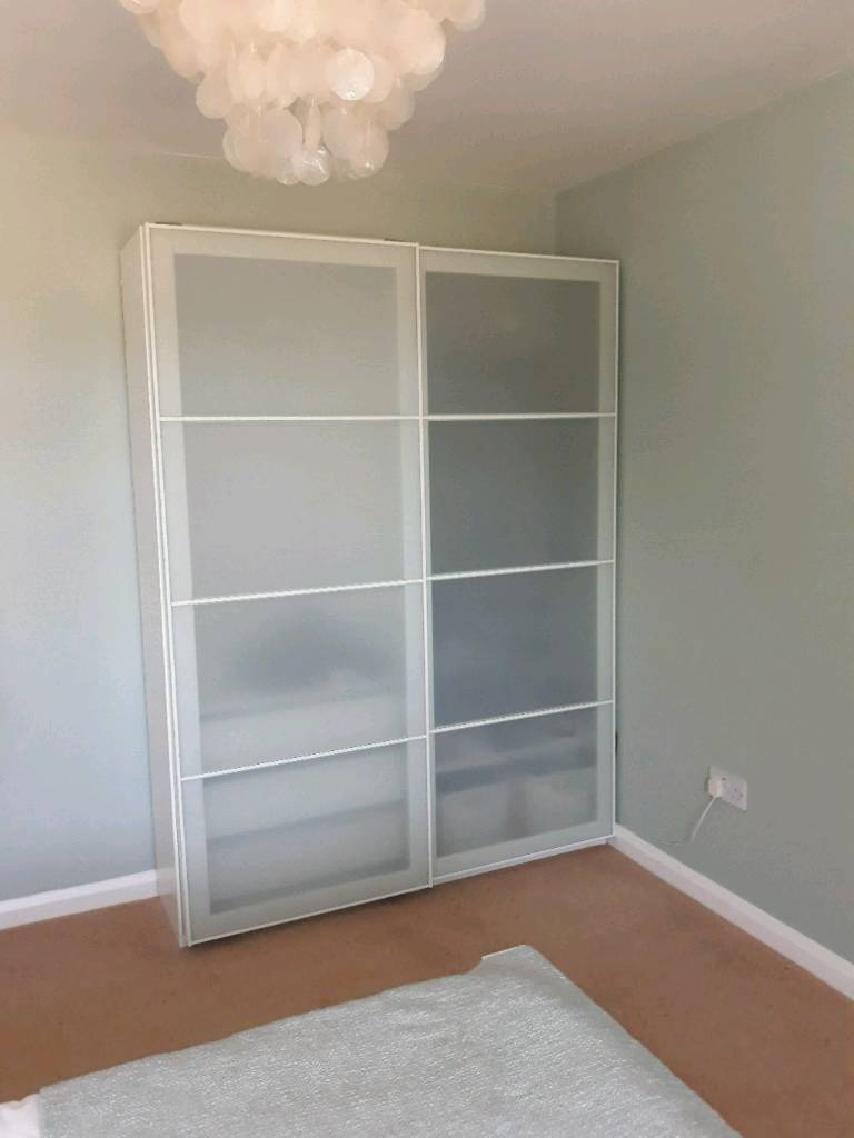 White Ikea Pax Double Wardrobe With Lights And Soft Close