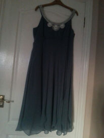 Designer Moonsoon Dress in pale blue/green size 14, with beaded neckline. As New