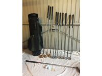 Wilson Custom 300 blade iron golf clubs, + traditional woods