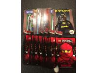17 Lego Ninjago collector cards and 9 Lego movie cards (some duplicates).