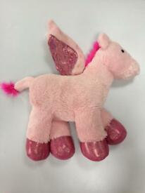 Large Pink Unicorn Plush toy. 46cm tall Shimmery Wings feet