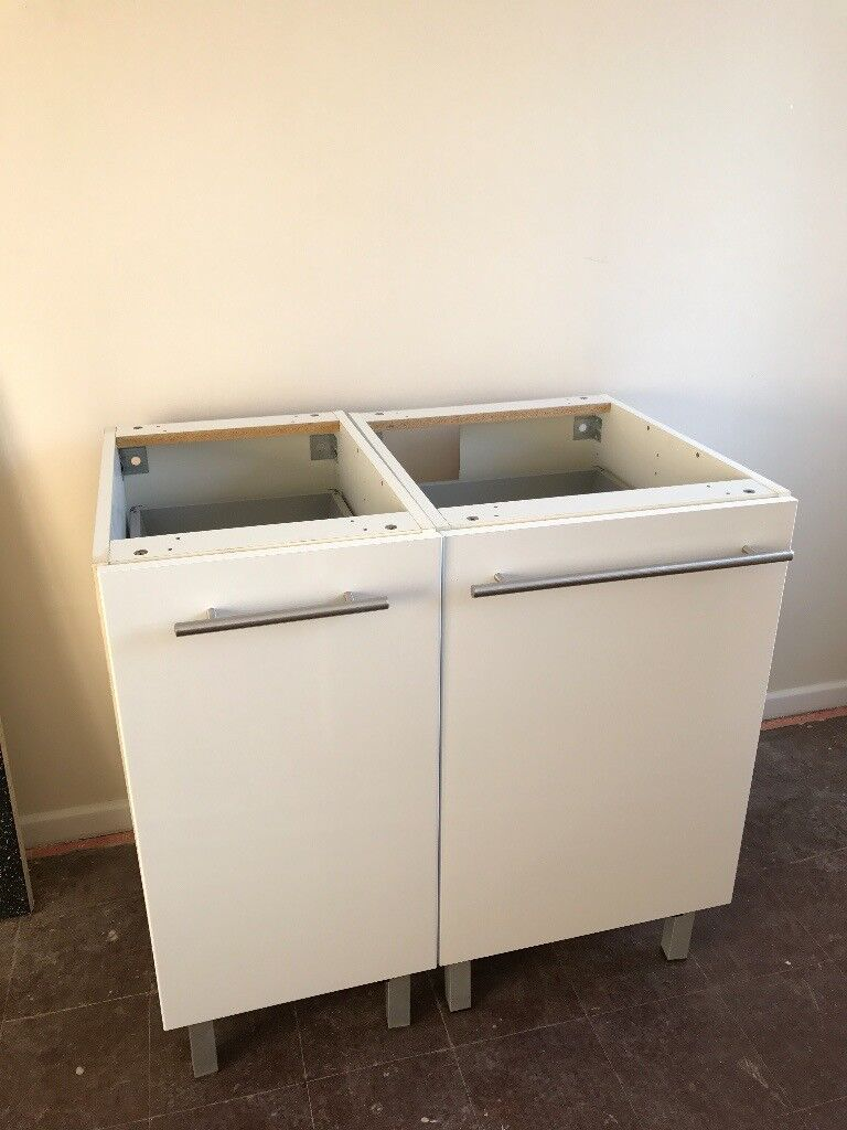 Ikea Ringhult High Gloss White Kitchen Units Including High Cabinet With Drawers And Shelves