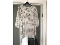 Floaty spotty blouse, never worn size 6/8