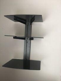 3 Tier Black Glass Shelf