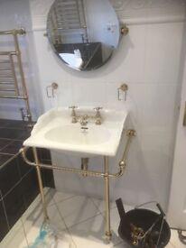Sanitan bathroom suite including complete Toilet, Bidet, Wash basin & Mirror with Brass Fittings