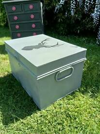 Sturdy metal chest, grey, stag, vintage, shabby chic