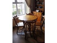 Solid Pine Chunky Table and 4 Chairs