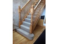 Pine Stairs complete with 2 handrails, 4 newel posts and spindles*