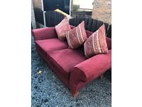 Beautiful Huge 3 Seater Designer Rich Red Sofa. Excellent Quality And Condition. Can Deliver.
