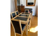 Rectangular Oak Dining Table with Granite Inserts & 6 Chairs