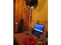 Lamp work desk light red retractable bending arm