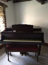 Baby grand piano - butterfly style. Played and tuned regularly