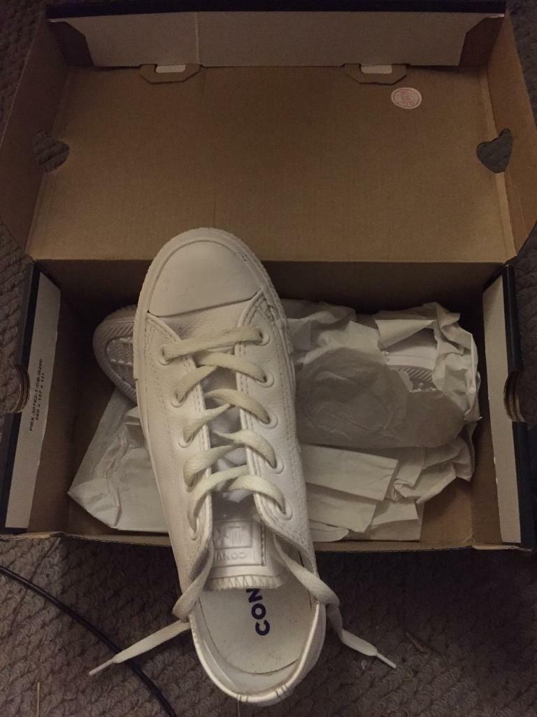 2c77398b3a73 Converse shoes white leather brand new size 6 woman s