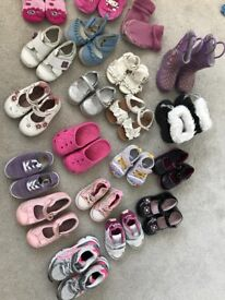 18 pairs of girls shoes size from 19 to 27