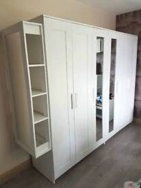 2 Brimnes Wardropes (mirror shelving unit included) and a 4 draw Brimnes chest of draws