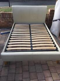 Cream leather double bed frame