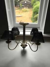 four arm brass chandelier ceiling light fitting with black shades