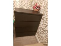 As new solid wooden chest of 4 drawers ( black & Brown)