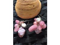 Handmade pink cluster glass earrings