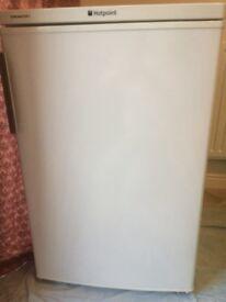 Bargain Hotpoint Under Counter Fridge Refrigerator White 12 Months Old Brushed Metal Look Handle