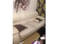 3 and 2 seater sofas leather beige