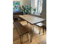 Oak dining table & 2 bench seats