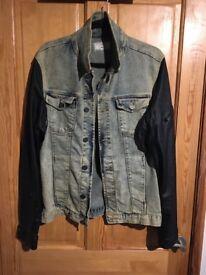 Mens Zara leather and Denim jacket