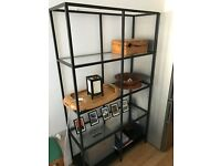 Shelves - Pair of Metal and Glass Shelving Units (storage, shelf)