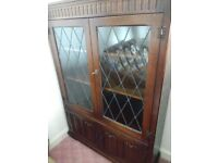 A antique solid Oak dark wood glass display cabinet- Dresser