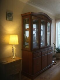 Display cabinet - cherry wood excellent condition