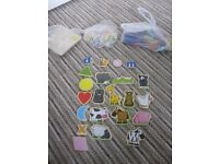 4 sets: Baby learning bundle: Fridge magnets, wooden letters, shapes, animals