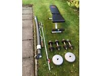 Weights bench, bars & weights