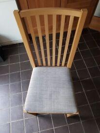 Four kitchen chairs, oak and isunda grey (NORRNÄS)