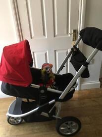 Red MotherCare Pram + Car Seat