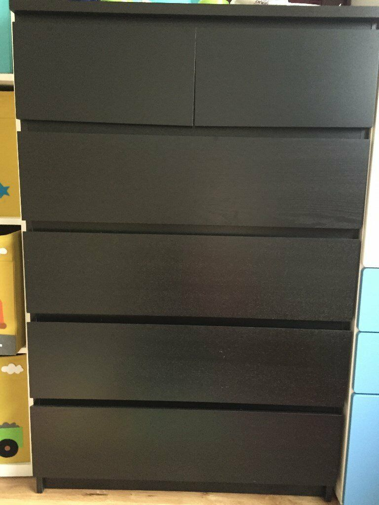 Chest of 6 drawers - MALM IKEA - Black-brown