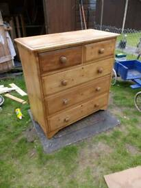 Vintage solid Pine chest of drawers
