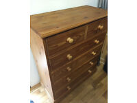 Great quality solid pine large chest of drawers,vgc
