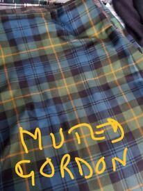 Gents heavyweight hand made kilt Muted Gordon tartan, waist 38-40 ins Made in Perthshire