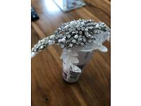 Bridal headpiece with diamond and lace detail